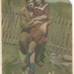 Photograph of woman and soldier, c. WWII